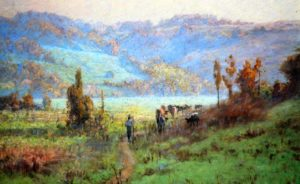 painting of a man walking down a trail with cattle herd