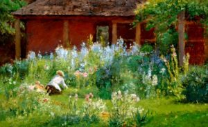 painting of a woman working in a flower garden