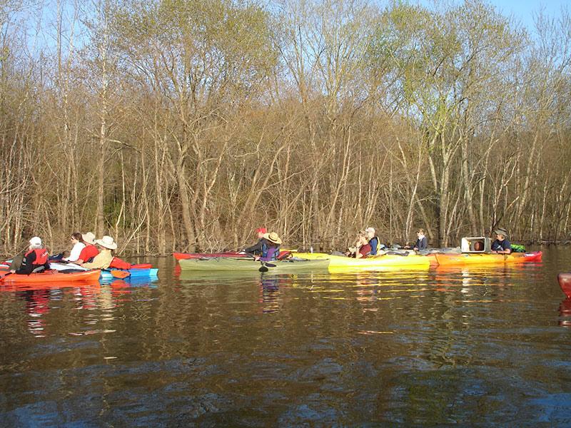 Participants kayak at Monroe Lake. Photo by Martha Fox