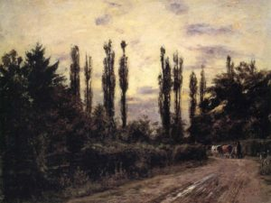 Landscape painting with poplar trees