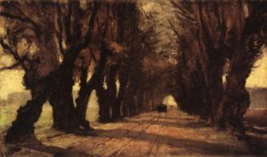 oil painting of trees lining road in germany