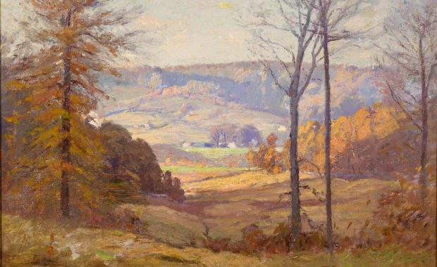 Southern Indiana landscape oil painting with fall colors
