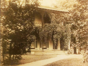 Sepia toned photograph of Tinker House in summer