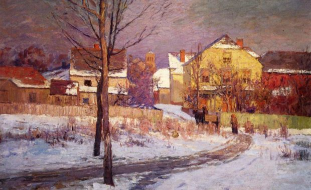 Oil painting of 1891 cityscape in winter