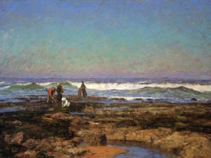 Beach landscape with clam diggers
