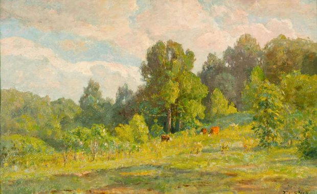 oil painting of cows in meadow in summer