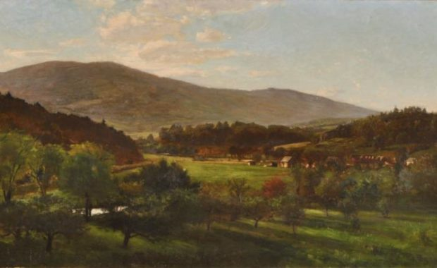 oil painting of okemo mountain late afternoon