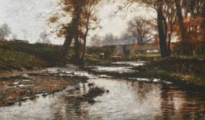Oil painting of cows drinking from Indiana creek