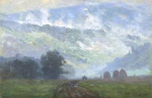Oil painting of Tennessee mountains in fog