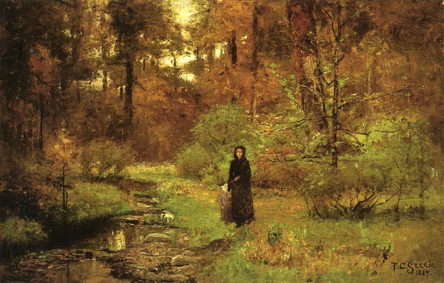 oil painting of woman in black holding a child's hand. They stand next to a brook in a green and brown woods